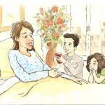 איור לחומר לימוד, אמא בבית חולים, צבעי מים ודיו