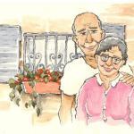 איור לחומר לימוד, סבא וסבתא, צבעי מים ודיו