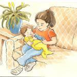 איור לחומר לימוד, ילדה ותינוק, צבעי מים ודיו