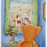 כיסא כתום, צבעי אקריליק על נייר
