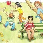 איור לחומר לימוד, משחקים בפארק, צבעי מים ודיו