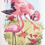 Flamingos, צבע אקרילי על נייר