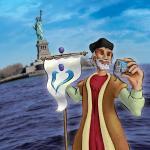 קולומבוס מגלה את אמריקה - איור למודעה.
