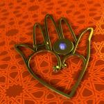 מזל ואהבה - עיצוב חמסה משולבת עם לב והדמייה תלת-מימדית