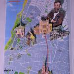 רחוב הרצל בתל אביב, איך  הוא היה  פעם, מגזרות של אלמנטים אופיניים על רקע המפה