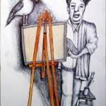 הצייר אוכשין מתוך סיפרו של בנימין גלאי - עטלפי עכו - אוסף מוזיאון עוקשי