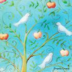 Greeting Card- Doves & Apples- By Varda Livney